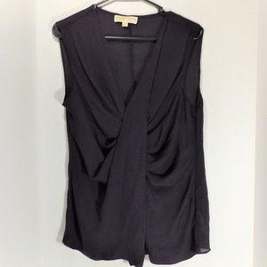 Michael Kors 100% Silk Black/Brown Blouse  L